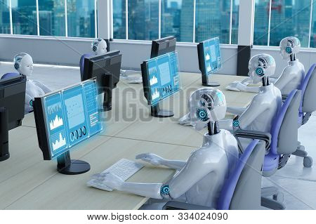 3d Rendering Robot Working In Office With Augmented Reality Display