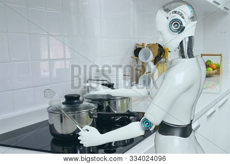 Cooking Robot Artificial Intelligence To Cook Food In Futuristic Concept