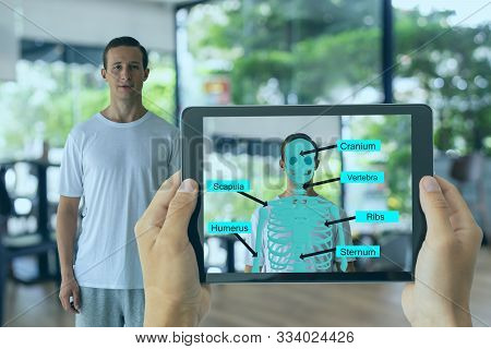 Business Man Use Augmented Mixed Virtual Reality Integrate Artificial Intelligence Combine Deep, Mac