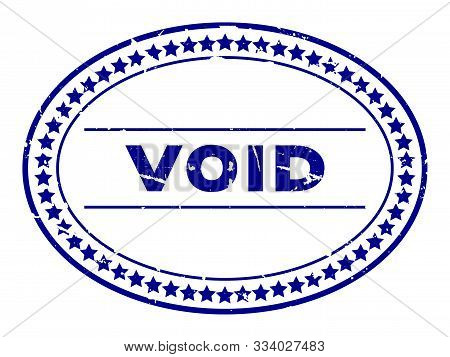 Grunge Blue Void Word Oval Rubber Seal Stamp On White Background