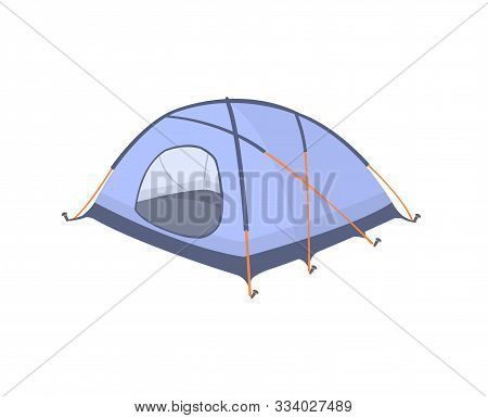 Blue Tent Isolated On White Background. Blue Tent