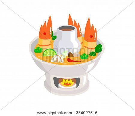 Tom Yum Kung In Hot Pot Isolated On White Background.