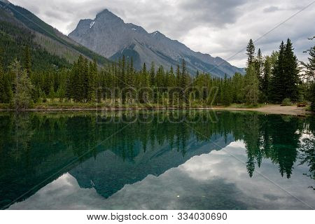 Panoramic Image Of The Chancellor Peak Reflecting In The Feeder Lake, Yoho National Park, British Co