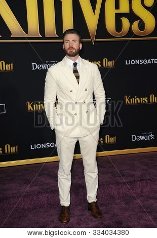 Chris Evans at the Los Angeles premiere of 'Knives Out' held at the Regency Village Theatre in Westwood, USA on November 14, 2019.