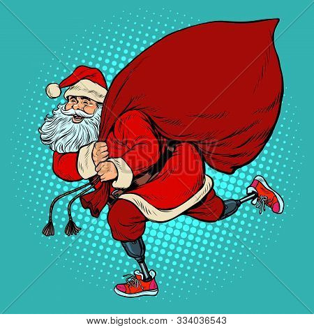 Santa Claus Disabled On Prostheses Delivers Gifts For Christmas. Pop Art Retro Vector Illustration K