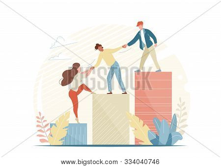 People Help And Grow Together. Business Woman And Man Climb Up Ladder. Teamwork Concept Illustration
