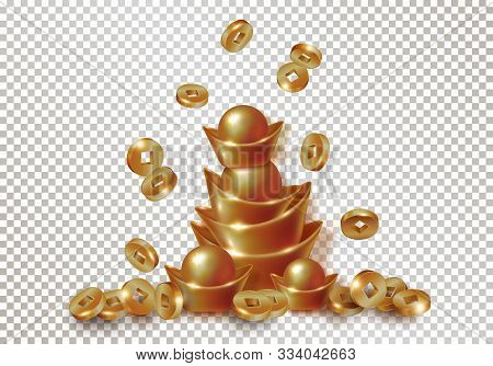 Chinese Traditional Gold Or Copper Ingots And Falling Coins. Realistic Objects Isolated On Transpare