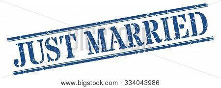 Just Married Stamp. Just Married Square Grunge Sign. Just Married
