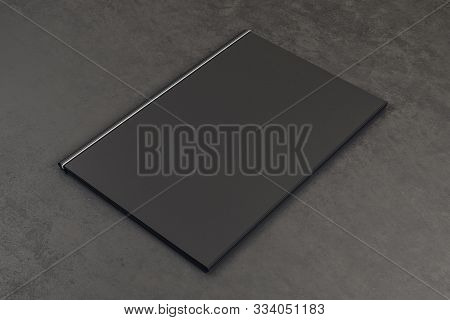Blank Black Book On Grey Background