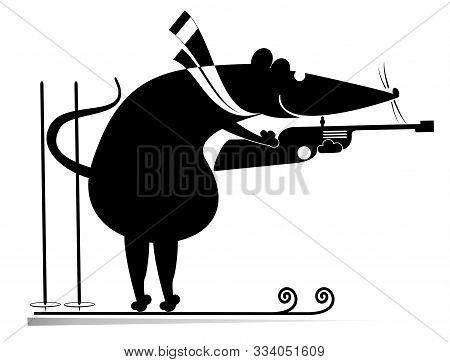 Biathlon Competitor Rat Or Mouse Black On White Illustration. Shooting Biathlon Competitor Cartoon R