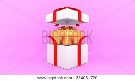 Open White Gift Box With Red Ribbon And Inside Golden Box On Pink Background.,minimal Christmas And