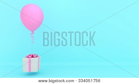 White Gift Box With Red Ribbon And Pink Balloon On Blue Background.,minimal Christmas And Newyear Co
