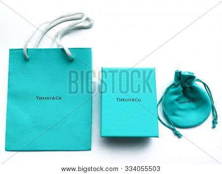 Moscow, Russia, August 2019: Signature Tiffany & Co. A Variety Of Branded Packaging Packaging Jewelr