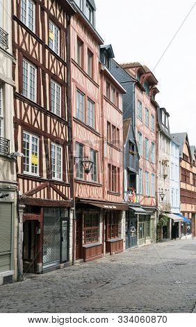 The Historic Old City Center Of Rouen In Normandy With Its Famous Half-timbered Houses