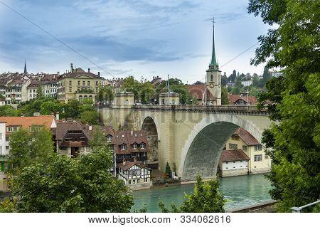 Bern, Switzerland - August 07, 2019: Beautiful Landscape Of Bern With Old Bridge. Bern Is Capital Of