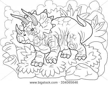 Cartoon Prehistoric Dinosaur Triceratops, Coloring Book, Funny Illustration