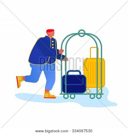 Bellhop, Bellboy Or Bellman Pushing Luggage Cart With Suitcases, Hotel Staff Character In Blue Unifo