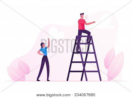 Young Man Stand On Ladder And Yelling, Woman Standing Downstairs With Index Finger Rising Up Managin