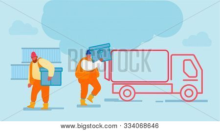 Shipping Port Men Loading Containers To Freight Truck. Seaport Workers Carry Box To Lorry In Docks.