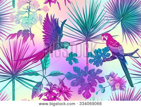 Seamless Pattern, Background With Tropical Plants, Flowers And Birds. Colored Vector Illustration In