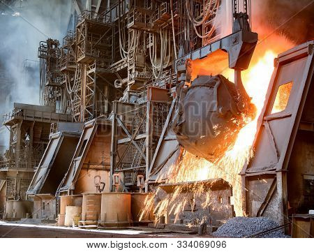Hot Steel Production At The Steel Plant, Metallurgy Concept. Stock Footage. Hot Shop With Flowing Mo