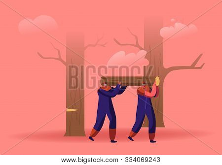 Couple Of Lumberjack Laborers Carrying Heavy Wooden Log On Shoulders In Forest. Woodcutters Working