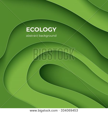Ecology Paper Cut Poster. Green Eco Abstract 3d Layer Background With Origami Shapes, Minimal Color