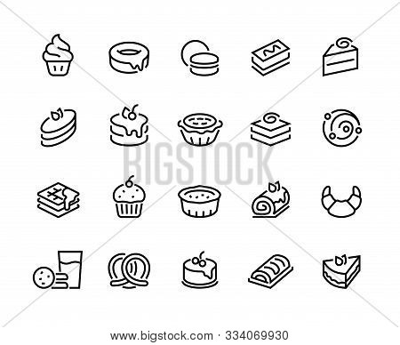Cakes And Cookies Line Icons. Bakery And Sweet Food Pictogram, Croissant Donuts Cupcakes Cookies Bro