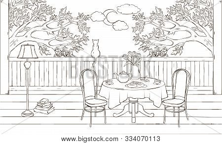 Beautiful sketch of interior of veranda with flower vase, tea, mugs, teapot, cat, floor lamp, table, chair, books. Cozy atmosphere of tea party. Nobody. Fresh air, view on the nature - trees, moon with clouds. Evening. Balcony interior illustration