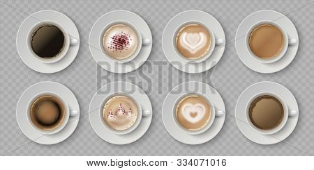 Realistic Coffee Cup. Top View Of Milk Creams In Cup With Espresso Cappuccino Or Latte, 3d Isolated