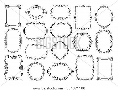 Vintage Frames. Antique Ornamental Wedding Borders, Vector Decorative Floral Frames For Poster, Logo
