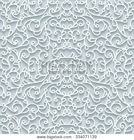Curly Lace Texture, Abstract Seamless Pattern With Cutout Paper Swirls, Filigree Lacy Ornament On Ne