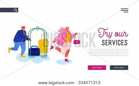 Hospitality Website Landing Page. Hotel Staff Meeting Guest Carrying Luggage By Cart. Businesswoman