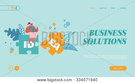 Creative Idea Website Landing Page. Woman Sitting On Huge Jigsaw Puzzle Element Pulling Another Part