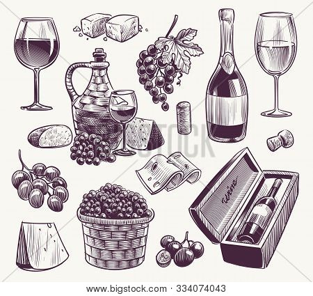 Sketch Wine. Winemaking, Classical Alcoholic Drink. Wood Wine Barrel, Bottle And Wineglasses, Grape