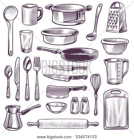 Kitchen Utensils. Sketch Cooking Tools. Pan, Knife And Fork, Spoon And Grater, Cup And Glass, Cuttin