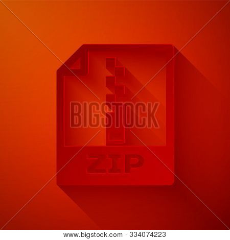 Paper Cut Zip File Document. Download Zip Button Icon Isolated On Red Background. Zip File Symbol. P