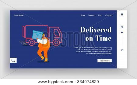 Maritime Logistic Website Landing Page. Shipping Port Man Loading Containers To Freight Truck. Seapo
