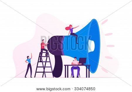 Social Marketing Concept. Men And Women Characters Promoting Online In Social Network Using Laptop A