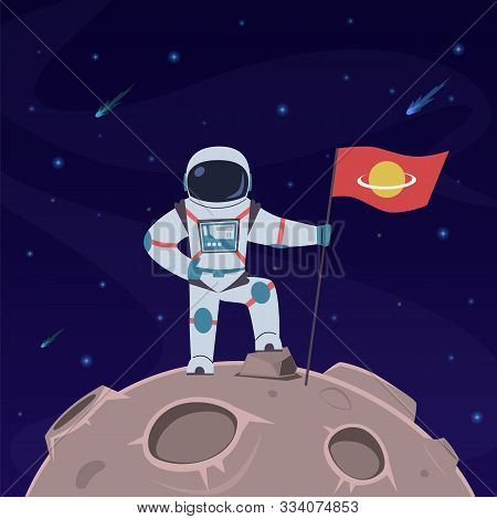 Astronaut On Moon. Spaceman With Flag In Spacesuit Explores Moon Surface. Futuristic Planet In Space