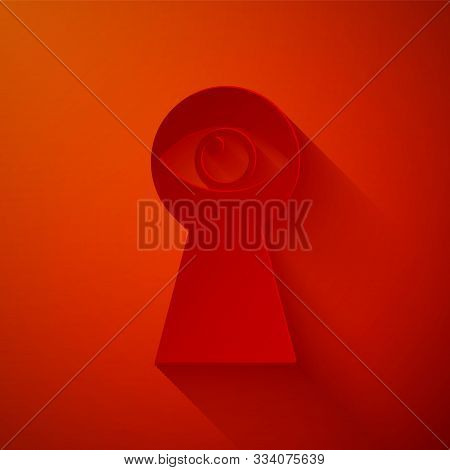 Paper Cut Keyhole With Eye Icon Isolated On Red Background. The Eye Looks Into The Keyhole. Keyhole