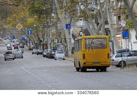 Odessa, Ukraine. November 3, 2019. A Typical Yellow Commuter Minibus In The Streets Of Odessa. Ukrai