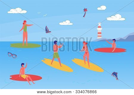 Young People Spending Time Together On Beach. Men And Women Cartoon Characters Standing On Surfboard