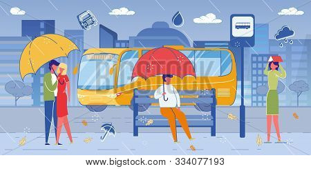 People, Men And Women Characters, City Citizens On Bus Station In Rainy Weather. Young Loving Couple
