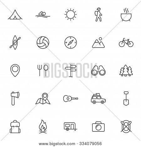 Summer Camping Outline Vector Icons Set Isolated On White Background. Camping Outline Flat Icons For