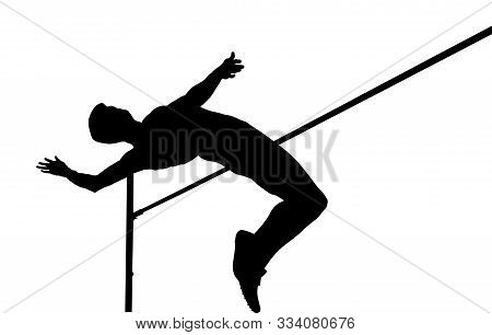 High Jump Athlete Jumper Over Bar Isolated Black Silhouette