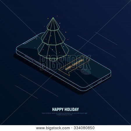 Futuristic Isometric Christmas Concept. Neon Phone With Notification Merry Christmas And Poligonal F