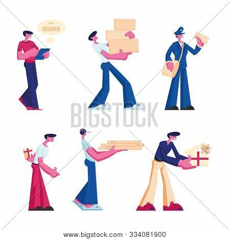 Delivery And Post Office Service Set. Male Characters Delivering Parcels, Gift Box And Pizza Order T