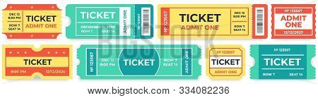 Admit One Tickets. Circus Entries Coupon, Retro Cinema Ticket And Movie Entrance Coupons. Carnival F