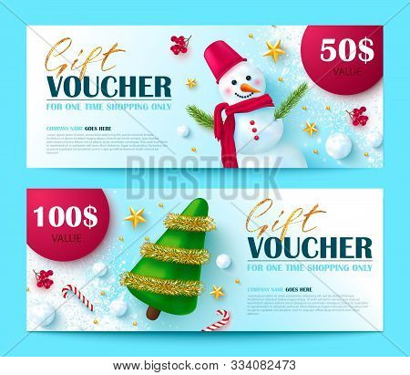 Gift Voucher For Christmas And New Year Sale.vector Illustration With Snowman, Rowan, Gold Stars, Sn